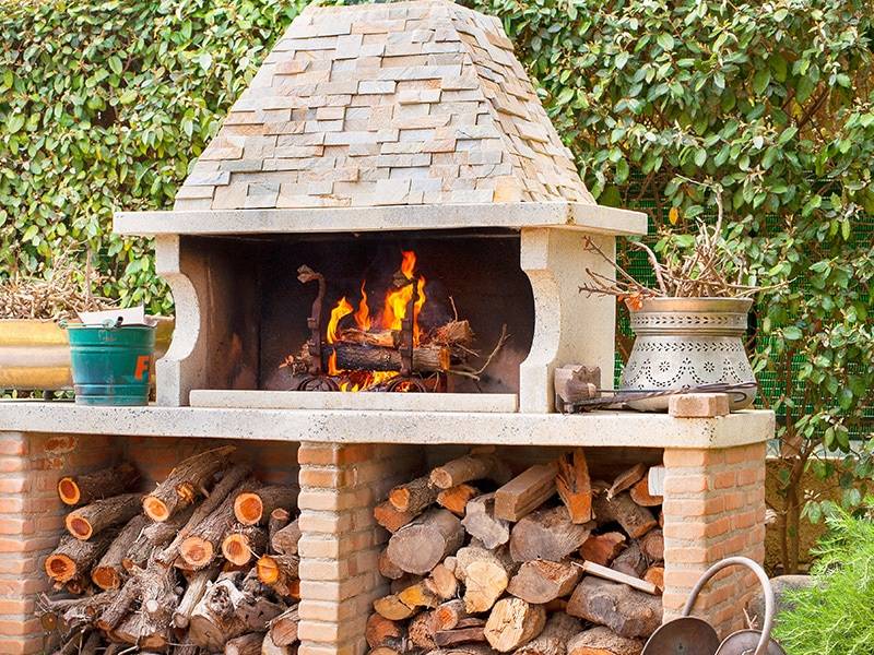 outdoor fireplace close up