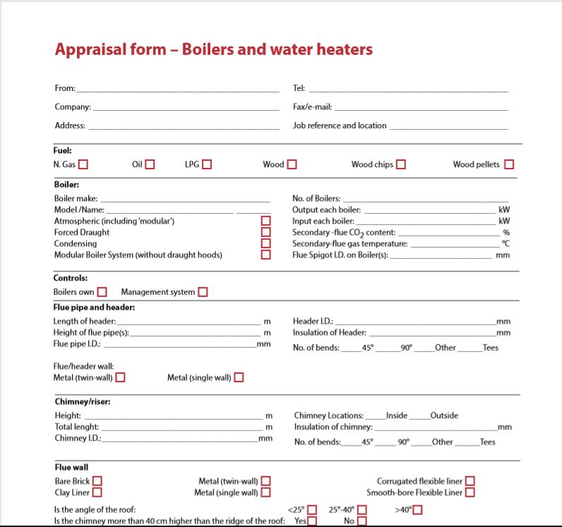 appraisal form boilers